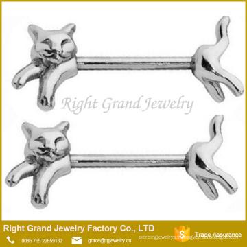 Anneaux de bouclier de mamelon en acier de Surigcal Anneaux de poitrine de chat de Barbells 14G