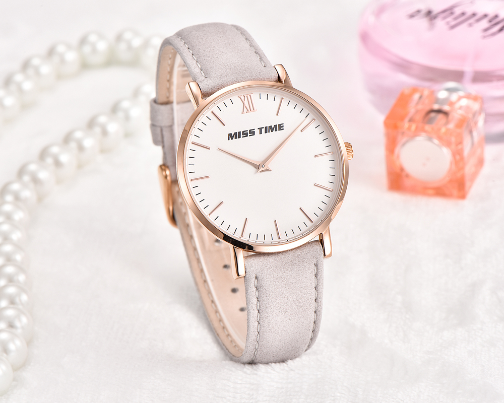 elegant bracelet leather japan movement womens quartz watch