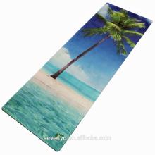 Moda eco-friendly vista para o mar padrão de impressão da árvore da flor tapete de yoga toalha YT-007
