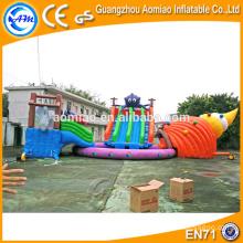Combo inflable comercial del parque del agua, diapositiva inflable grande de la piscina, toboganes inflables del agua China