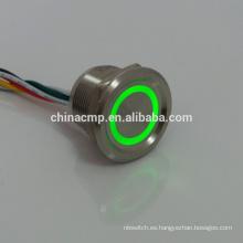 Sellado, larga vida, 12v Verde led Interruptores piezoeléctricos antivandalismo de metal iluminado (interruptor de botón de presión en línea impermeable cubierto)