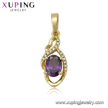 33244 xuping women 14k gold color imitation diamond pendant jewelry