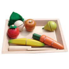 Ressources d'apprentissage Pretend Play Food Wooden Sliceable Velcro Fruits Toy