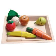 Recursos de Aprendizagem Fingir Alimentos de Madeira Sliceable Velcro Fruits Toy