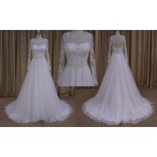 2016 nouveau modèle A-ligne robe de mariée à manches longues robe de mariée