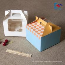 Manija de la pequeña caja de torta de papel de arte personalizado lindo diseño con ventana