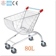 Supermercado carrito de ruedas rodantes de metal