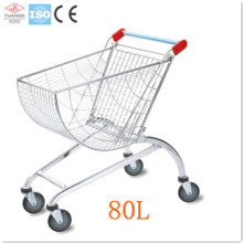 Supermarket Shopping Wheeled Rolling Metal Trolley