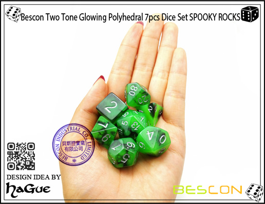 Bescon Two Tone Glowing Polyhedral 7pcs Dice Set SPOOKY ROCKS-8