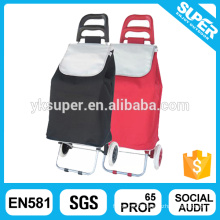 Portable folding fabric shopping trolley cart with wheels