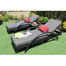 Luxurious Design Synthetic Resin Rattan Sunbed/ Sun Lounger/ Daybed/ Lounger For Outdoor Garden Patio Wicker Furniture