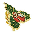 Aangepaste metalen Holly Berry Pin Christmas Gift