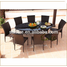 new style outdoor plastic rattan dining table set