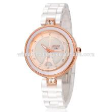 Elegante resistente à água barato faixa cerâmica relógio branco