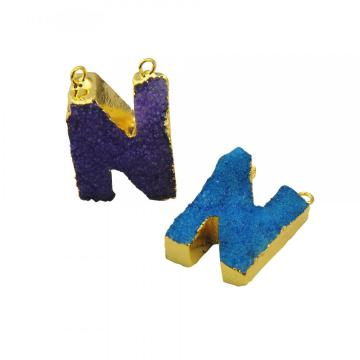 Natural Druzy Crystal Alphabet Letter N Pendants Plated Gold