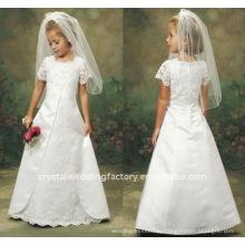 Аппликация с коротким рукавом кружева цветок девушка платье CWFaf1755