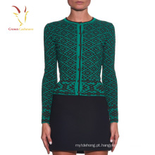 Senhoras impressão design cashmere cardigan suéter
