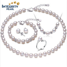 Real Pearl Set Freshwater Pearls Jewelry Set 8-9mm Rice AAA Latest Pearl Set Designs