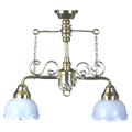 2-arm Ornate Chandelier with white shades