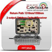 Trayectoria de vuelta 1310nm / 1550nm 2 Receptor óptico al aire libre de la salida 1 / RF 1310 o 1550 al aire libre Nodo óptico del CATV