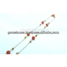 Belle chaîne à perles rondes et lisses en argent, gros bijoux en pierres précieuses