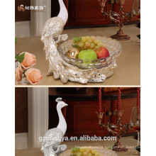 customized color christmas lead free resin peacock figure home kitchen hotel and restaurant decoration with glass bowls