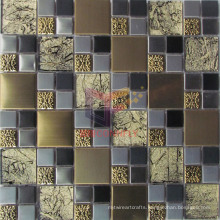 Gold Leaf Glass Mix Gold and Silver Color Metal Mosaic (CFM903)