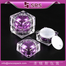 SRS1 wholesale 15ml 30ml 50ml 100ml 120ml square cosmetic plastic pump bottle and jar for liquid , acrylic face cream container