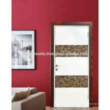 HOT SELLING Turkish Manufacture Lacquered Interior Door with Coconut shell decorative panel and wooden frame