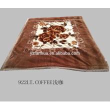 Коричневый цвет напечатаны одеяло мягкой норки для зимних кровать броска