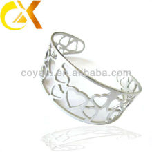 New design stainless steel jewelry steel glamour heart shape bangle
