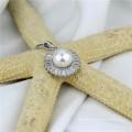 Pingente de jóias de pérolas naturais de pérolas de zircon brilhantes