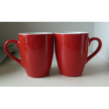 Rojo esmaltado porcelana taza (CY-P573)