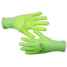 13 Gauge Fluorescent Green Glass Fiber Green Nitrile Cut Resistant Safety Gloves 5 Level