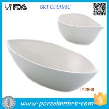 Set of 2 Mini Boat Shaped Salad Bowl White Ceramic