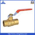 Fábrica de plomería original latón de latón de latón de agua de válvula con mango de acero largo en la válvula (YD-1025)