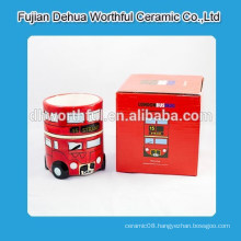 Ceramic mug with london bus design