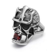 Кольца черепа кроваво-красный камень в рот из нержавеющей стали