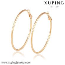 92417 Xuping Jóias simples e grandes brincos de argola com ouro 18k chapeado