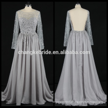 Real Photos Long Sleeve chiffon Evening Dress Rhinestone Backless Chiffon Evening Gown