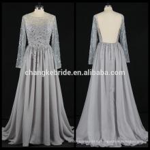 Реальные фото с длинным рукавом вечернее платье шифон горный хрусталь спинки шифон вечернее платье