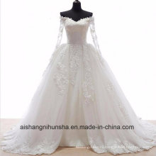 Romantic Wedding Dress with Long Sleeves Detachable Appliques Wedding Gown