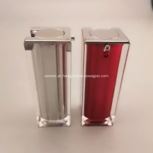 Frasco de loção acrílica de prata quadrada de qualidade, embalagem de plástico