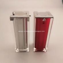 Качественная серебряная квадратная акриловая бутылка для лосьона, пластиковая упаковка для косметической бутылки