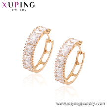 96413 Fashion jewelry diamond cubic stone huggies latest design earrings for women