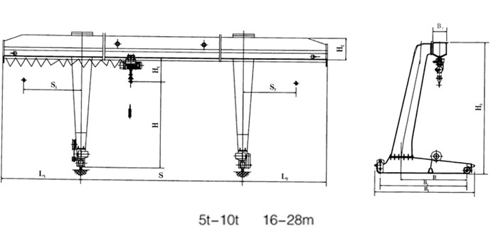 L shape electric hoist gantry crane sketch
