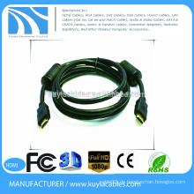 Nagelneues Schwarzes 19pin HDMI zum HDMI Kabel stützt HDTV, Haupttheater, 1080p