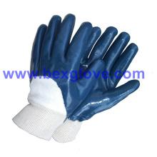 Liner Jersey de algodón, recubrimiento de nitrilo, guantes de seguridad de medio recubrimiento