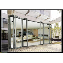 Woodwin Основной продукт Двойная закаленная стеклянная алюминиевая складная дверь