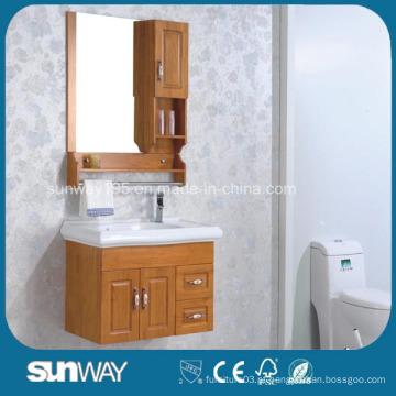 Gabinete de banheiro de madeira maciça montada em parede com espelho